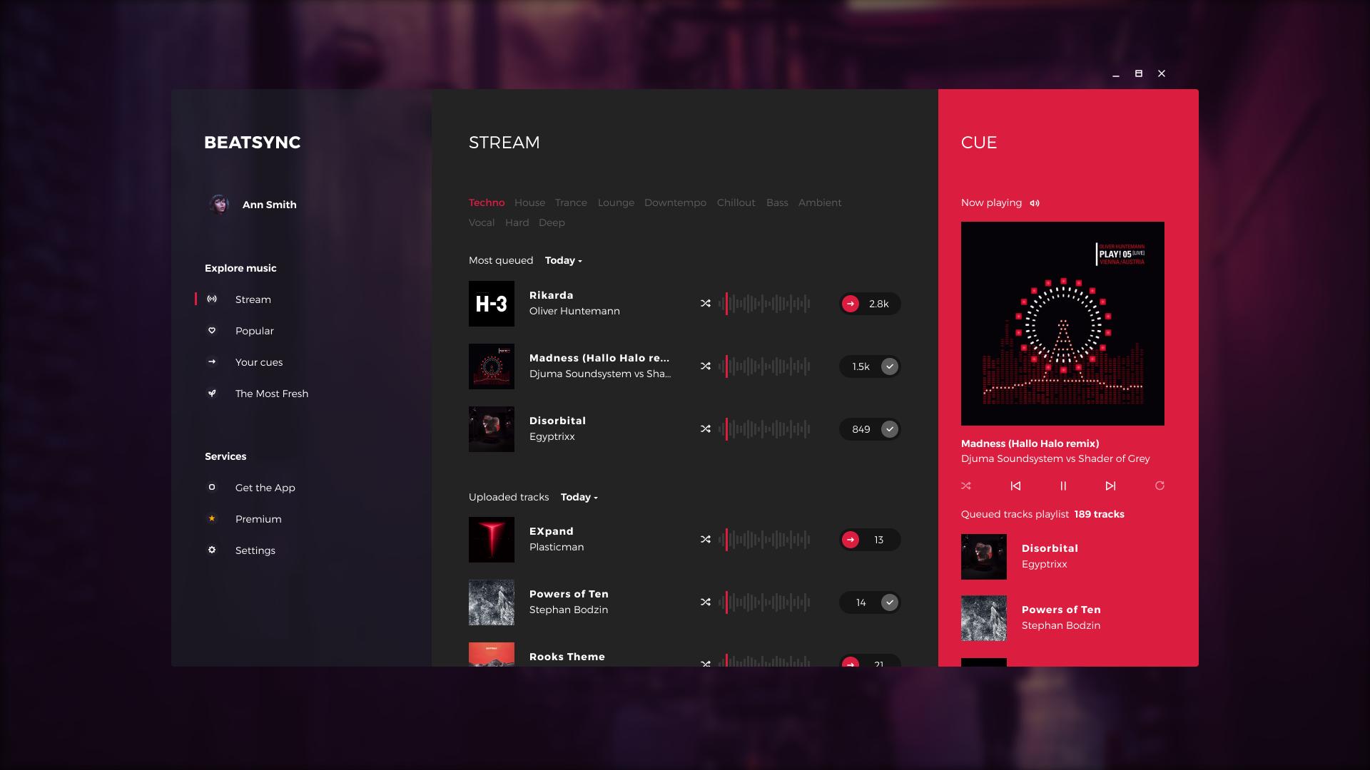 Beatsync music streaming app tubik main screen option