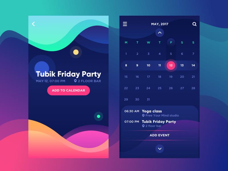 Bright Vibe Calendar By Tubik Dribbble