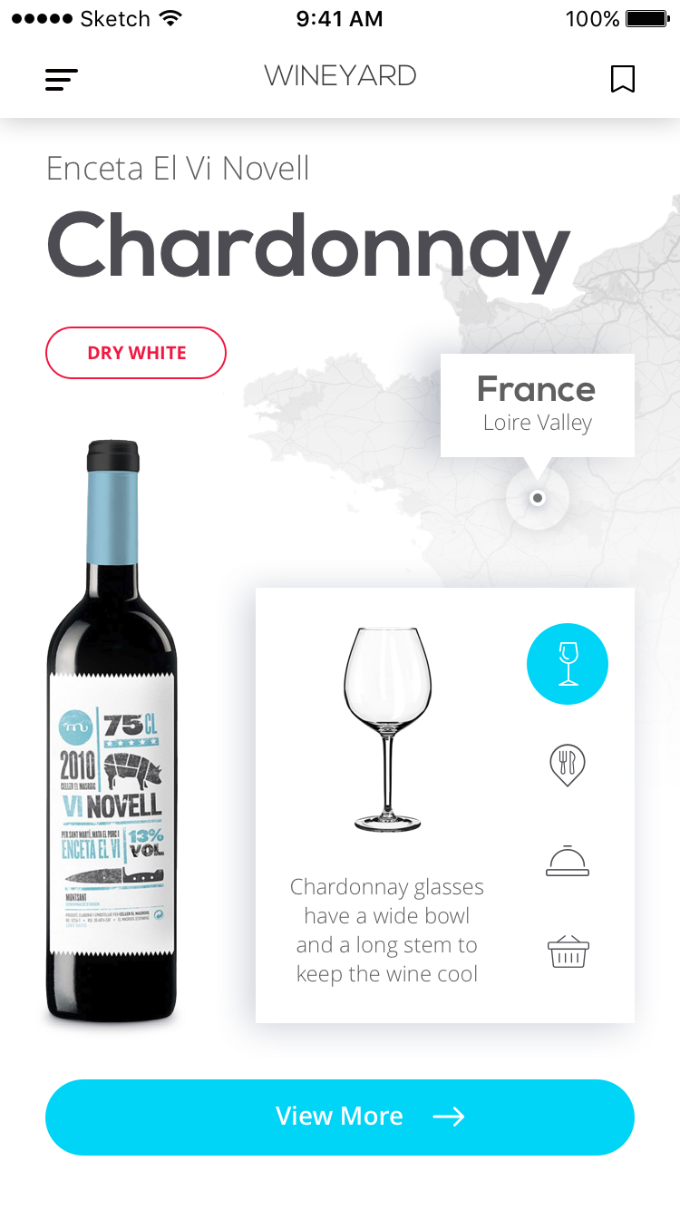 Tubik wineyard app wine screen