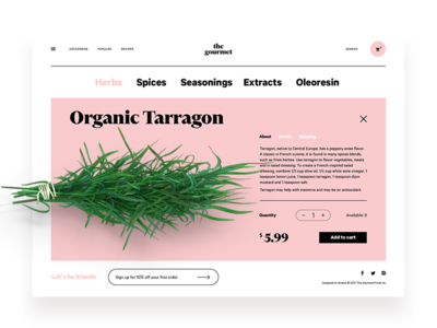 The Gourmet Website website product card shopping ecommerce cooking food interface ux ui web design