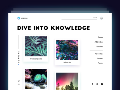 Encyclopedia Website: Home Page. interaction minimalism website home page encyclopedia education interface ux ui web design