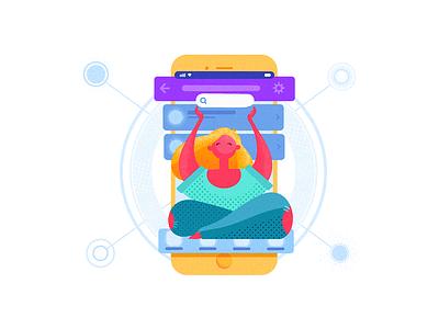 Navigation in UI app design mobile digital art interface navigation illustration graphic design ux ui design