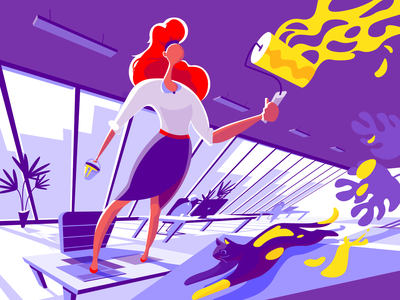Add the Color environment bright digital art character illustration graphic design design