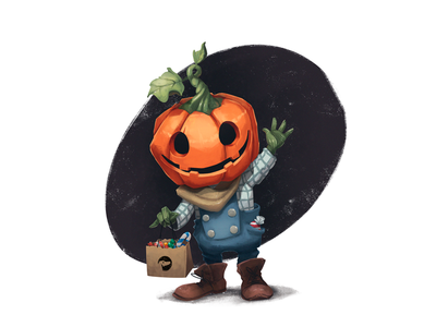 Trick or Treat digital painting cute character trick or treat halloween design character design digital art jack o lantern animation design studio celebration illustrator fun character halloween pumpkin illustration art graphic design design