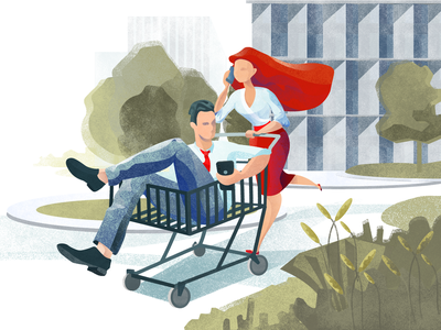 Shopping Run city ecommerce illustrator shopping digital art character run illustration graphic design design