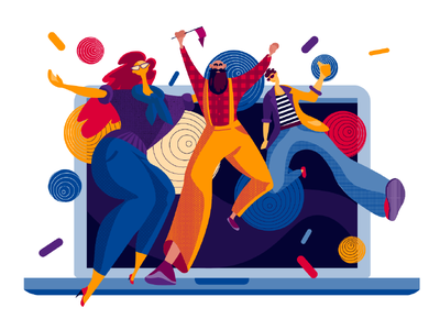 Design Party computer laptop celebration holidays people illustration illustration art illustrations user experience design studio dance fun illustrator party designers digital art character designer illustration graphic design design