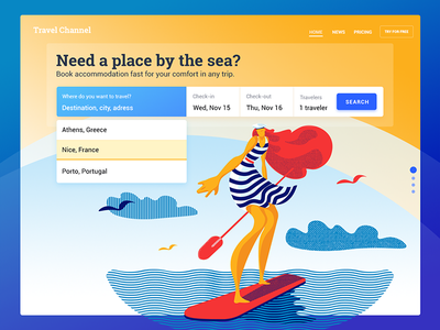 Booking Service UI sea illustration graphic design travel booking interaction interface ux ui web design design