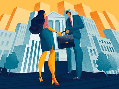 Business Teamwork illustrator business collaboration digital art character city illustration graphic design design