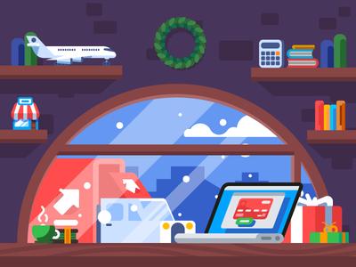 Christmas Mood Illustration promo video shopping flat video production opera christmas illustration graphic design design