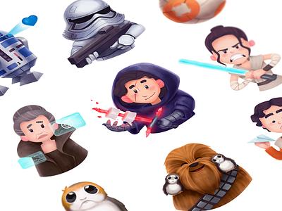 Star Wars Fan-Art Stickers jedi illustration fan art character graphic design star wars stickers design