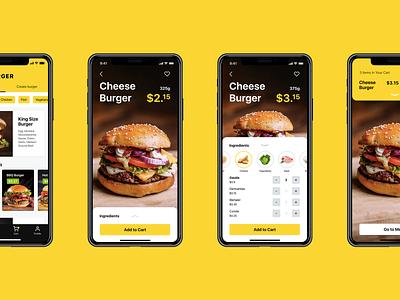 Tasty Burger App ecommerce burger food ux ui animation motion interaction interface mobile app design