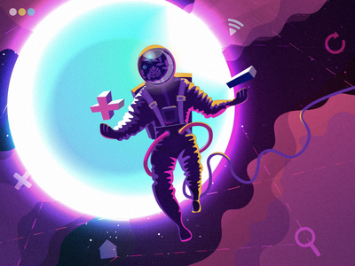 Design Universe universe illustrator cosmic astronaut digital art character space illustration graphic design design