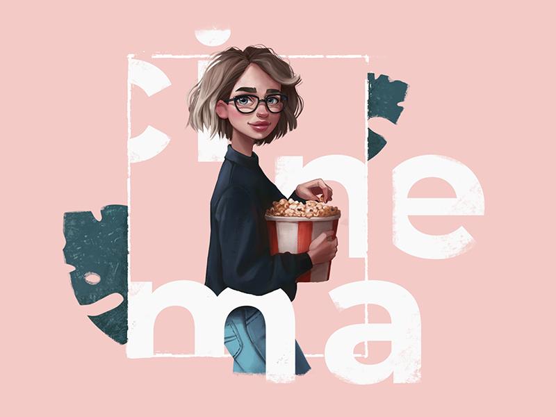 Cinema Fan Illustration film illustrator girl movie digital art character cinema illustration graphic design design