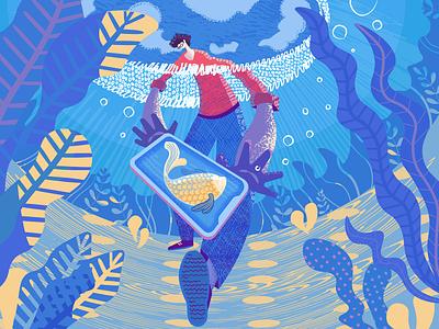 Catch Your Style Illustration water illustrator flat designer digital art character sea illustration graphic design design
