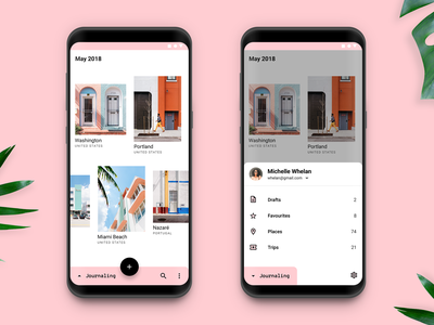 Playing with Updated Material Design interaction motion animation material travel interface android ux ui mobile app design