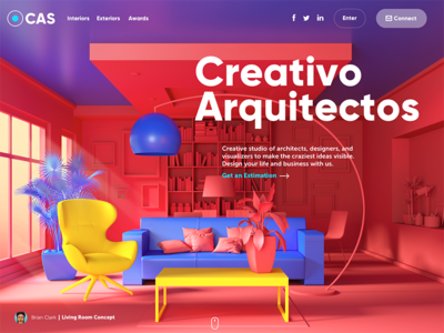 Creativo Arquitectos Website room interaction home page charity website 3d interior design architecture ux ui web design