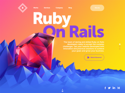 Ruby Solutions Website ruby interface typography graphic design landing page home page webdesign website web ux ui design 3d