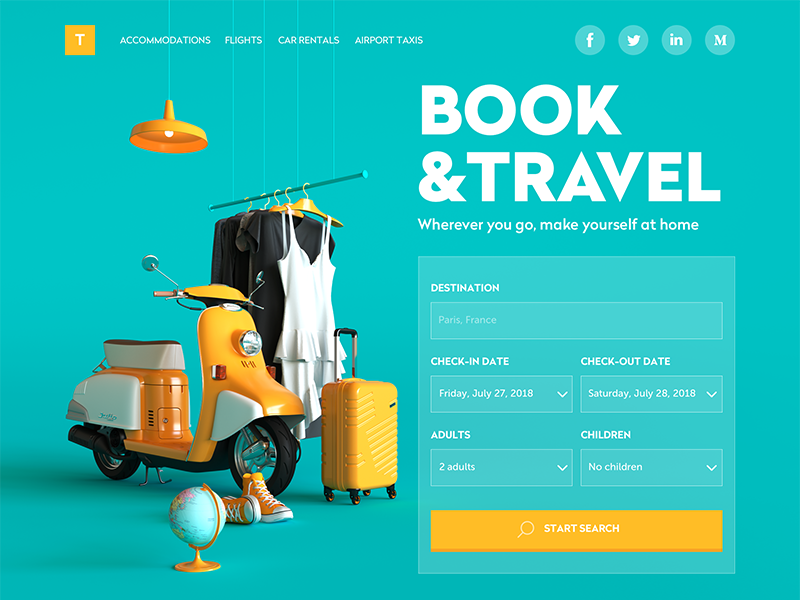 Book and Travel Website home page 3d interaction design booking travel user interface ux ui website webdesign design