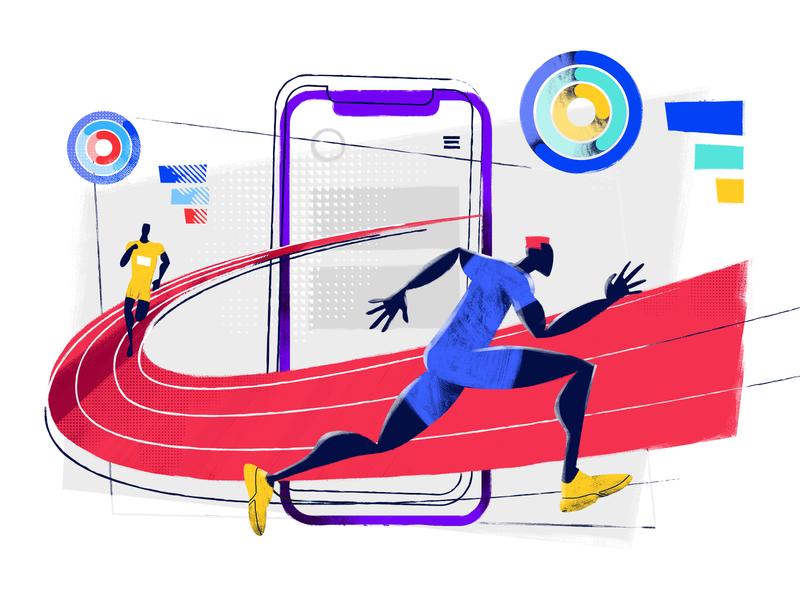 Run to Release Illustration athletics character design studio vector art flat illustration digital art athlete fast runner illustrator interface ux ui sport app design mobile illustration graphic design design