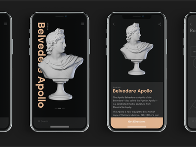 Museum App Interactions statue history map user interface design studio gallery education exhibition museum app mobile interaction motion animation interface ux ui design