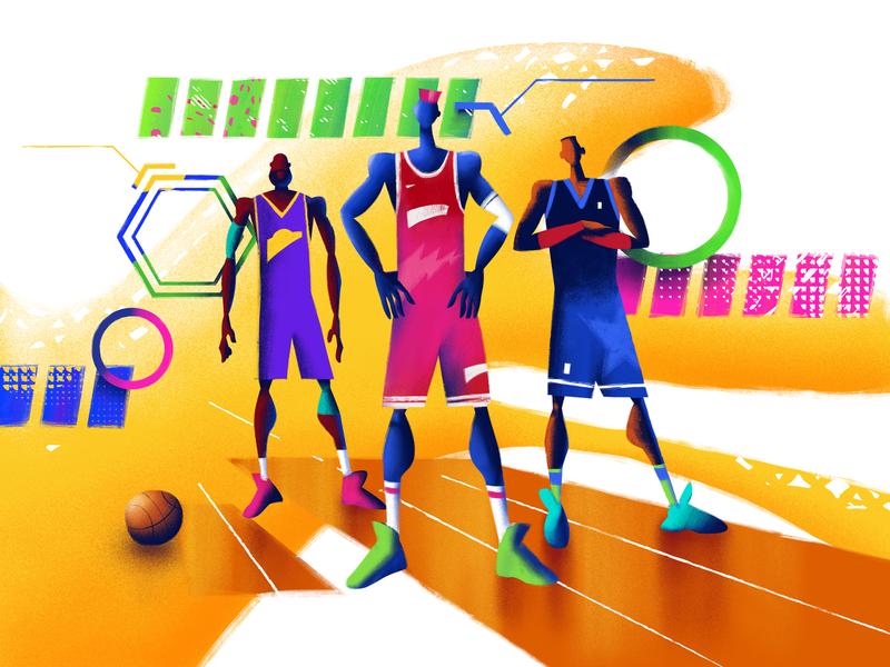 Team Up Design Illustration character bright flat illustration flat  design design studio team ballers ux ui web design illustrator basketball sport illustration graphic design design