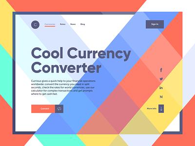 Currency Converter Landing Page navigation interaction design webdesign finance currency converter currency landing page web interface graphic design ui ux design