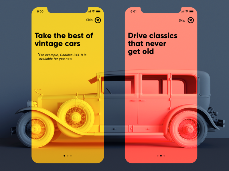 Vintage Car App Onboarding ios minimalism tutorial user experience interaction mobile graphic design interface app car hire vintage car app design onboarding car ux ui design