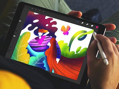 Digital Art Inspiration designer tablet procreate illustrator nature work in progress design studio character art bright digital art illustration graphic design ux ui design