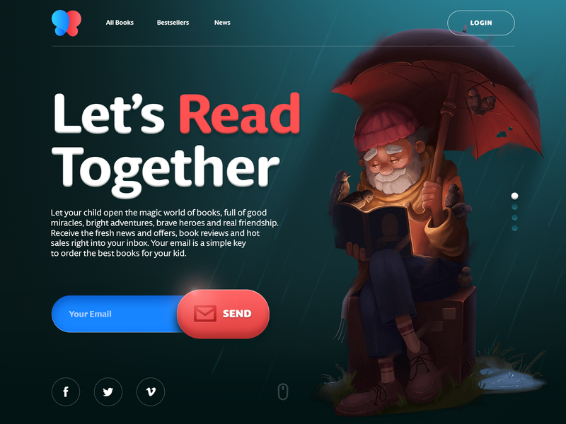 Books for Children Website children landing page typography reading subscription bookshop digital art ecommerce book character hero image website web interaction illustration interface graphic design ui ux design