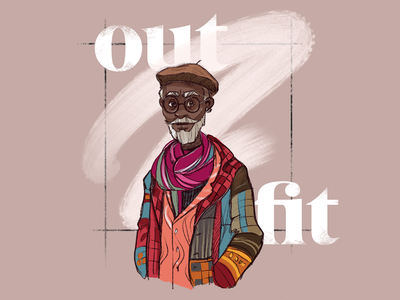 Artsy Outfit Illustration walk typography clothes man illustrator outfit artist bright character digital art illustration graphic design design