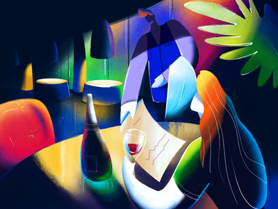 Chill-Out Night Illustration inspiration relax evening out night waiter character digital art procreate chill eating out restaurant illustration graphic design design