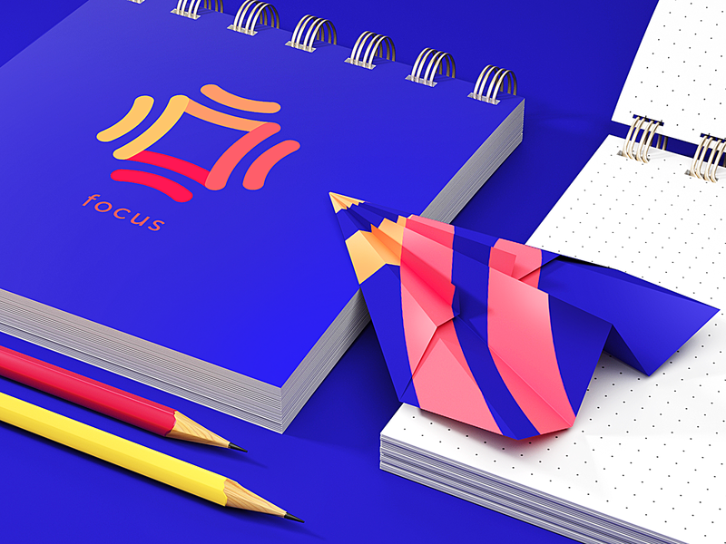 Focus Identity Design branded content notepad 3d branding brand notebook mobile app bright logo design logo identity illustration graphic design design