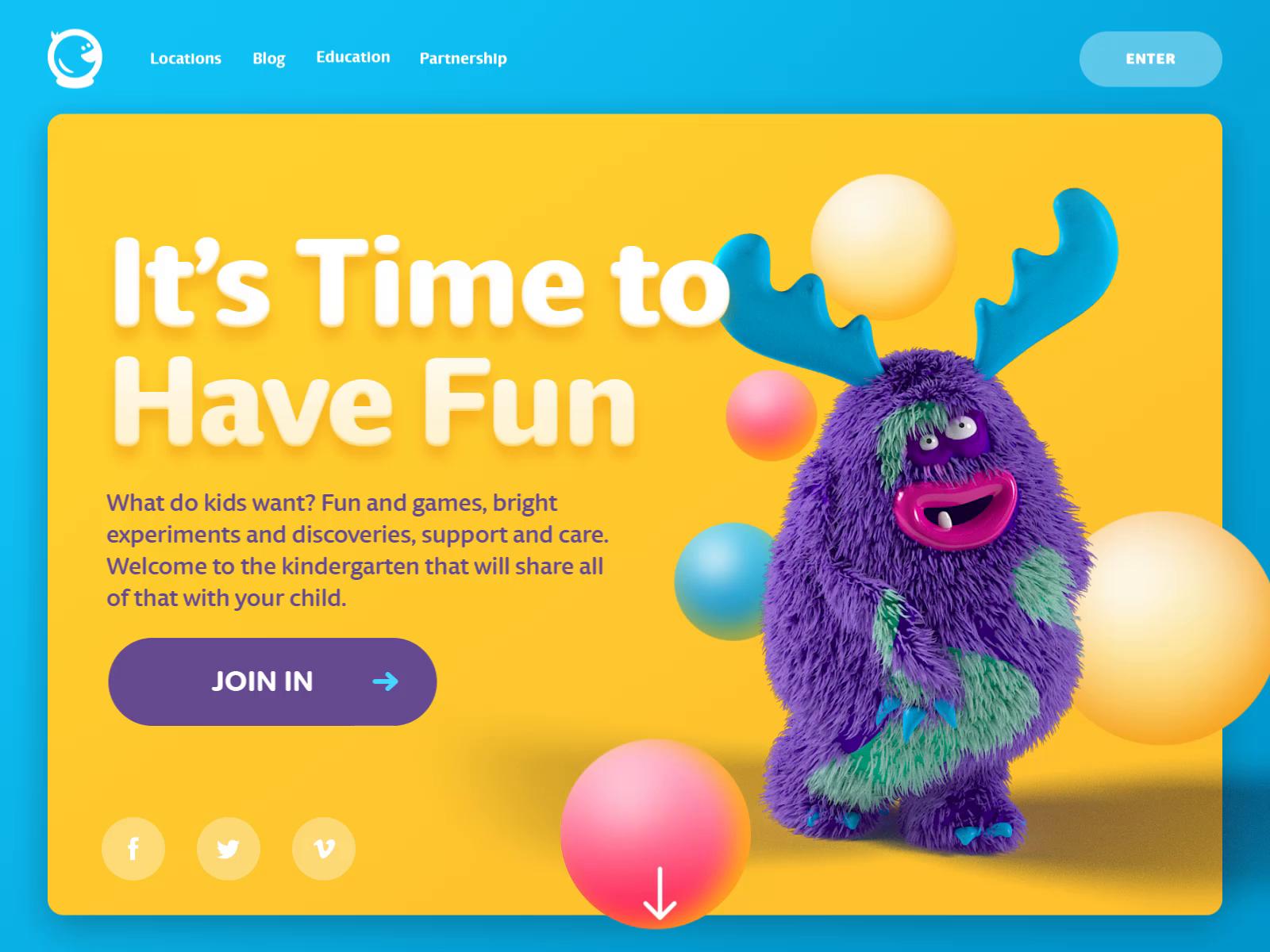 Landing page kindergarten webdesign tubik