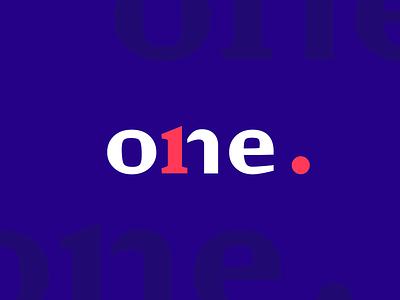 One Logo Design contrast design studio wordmark logo design identity one branding vector logo graphic design design