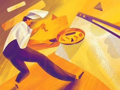 Well-Done UI Illustration creative designer design process illustrator user interface design user experience design cooking chef design studio character digital art web interaction ui ux illustration graphic design design
