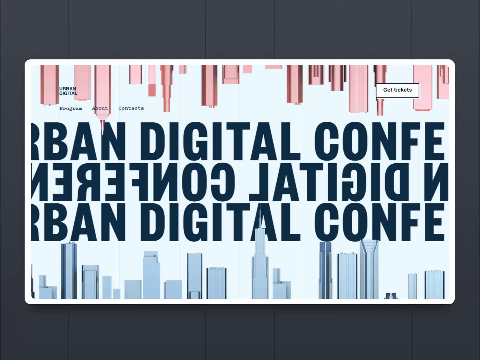 Urban digital conference landing page tubik