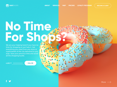 Shopping Delivery Service Website food user experience shops 3d doughnut delivery service website shopping home page landing page interaction web interface graphic design ux ui design