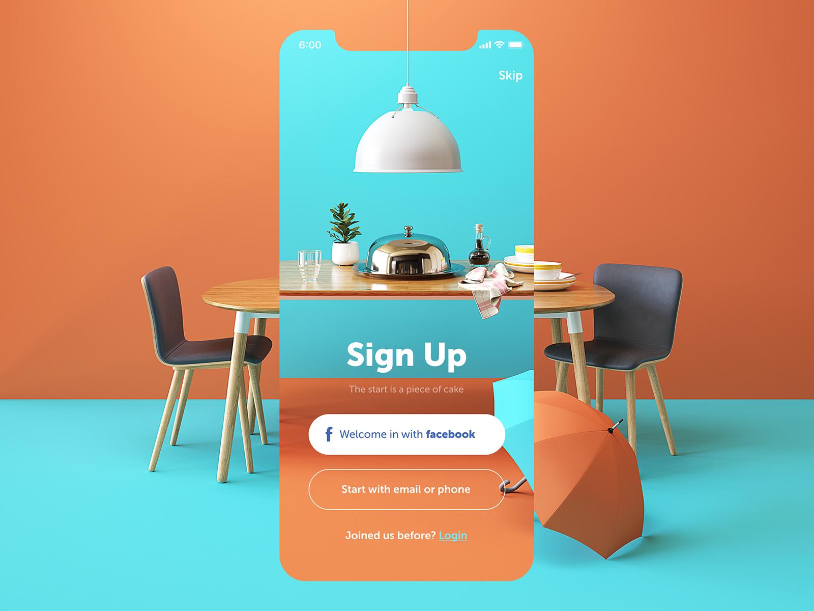 Restaurant app sign up screen design tubik