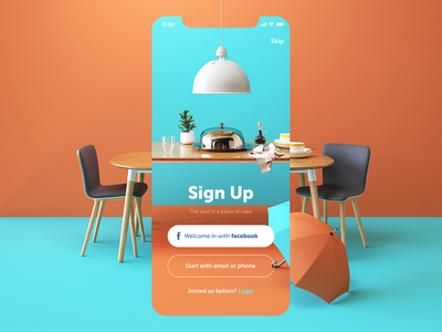 Restaurant app sign up screen design tubik 4x