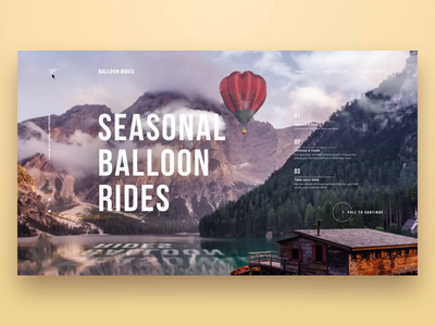 Balloon Rides Website ux user experience homepage user interface flight website animation interaction design entertainment travel balloon service website web motion animation interface ui design