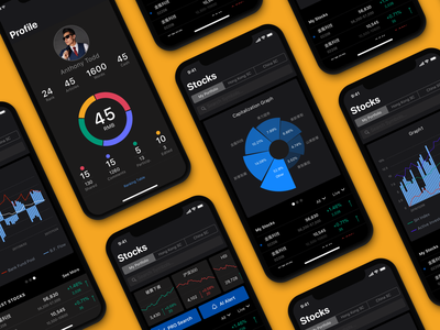 Stock Analysis App UI mobile screens user profile stocks business dashboard analytics finance app stock app dark background app interface app design finance design studio interaction mobile app ux ui interface design