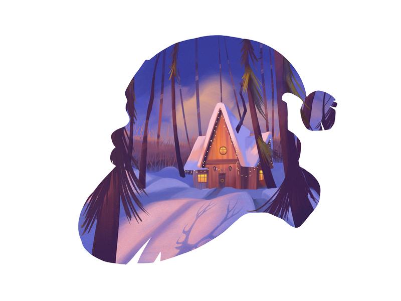 Cozy Winter Illustration forest house winter scene cozy shadows design studio illustrator digital art santa claus snow winter illustration design graphic design