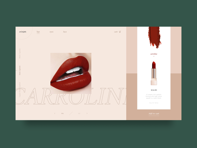 Beauty Ecommerce Website online shopping lipstick website user experience minimalism beauty care make up cosmetics beauty user interface ecommerce product card webdesign interaction ux ui design