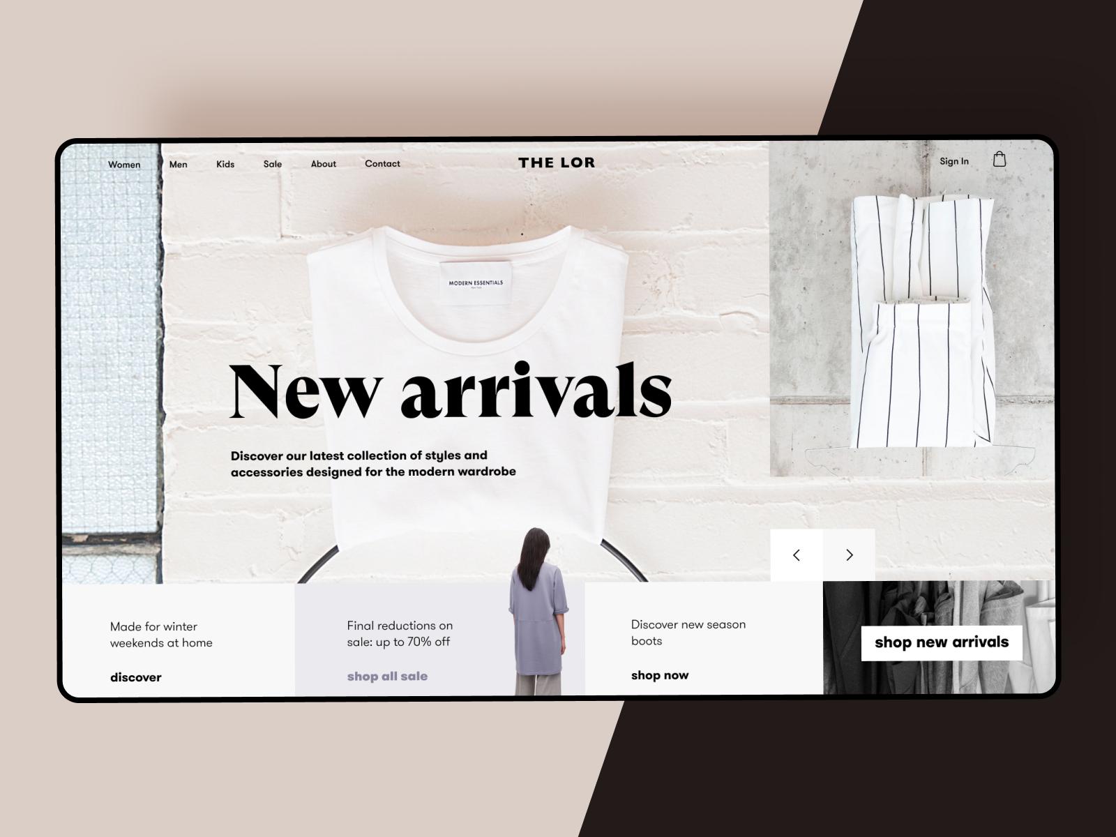 Fashion store website design tubik
