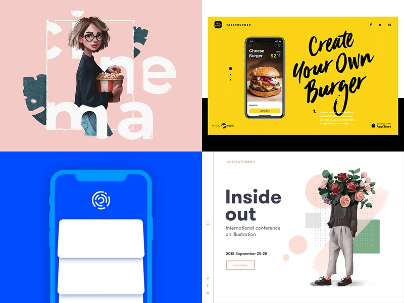Tubik Top 4 Designs 2018 design studio digital art interaction animation illustration graphic design ux ui design