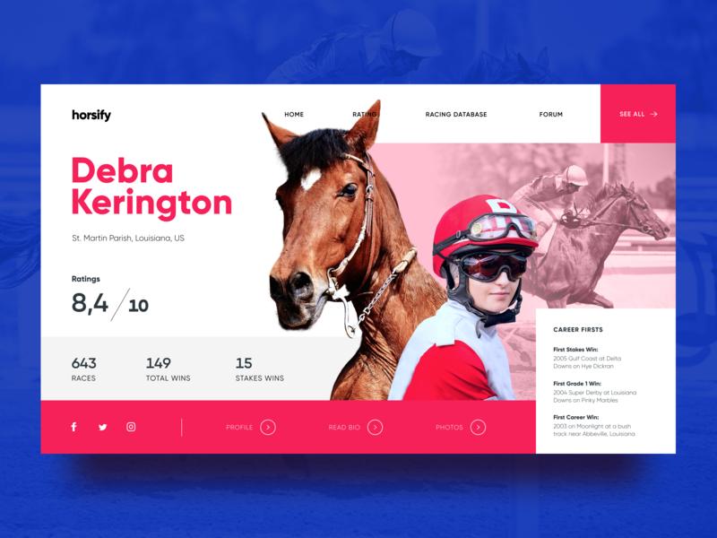 Horse Racing Website Design interaction design sport profile page hero image horse racer race gambling horse racing webdesign website user experience user interface ux ui design