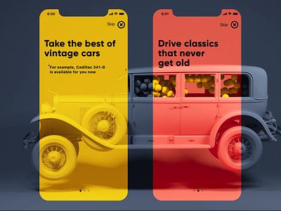 Vintage Car 3D Animation app design creative  design motion design vintage car automobile car cadillac 3d animation 3d art 3d design studio mobile motion app animation ux ui graphic design design
