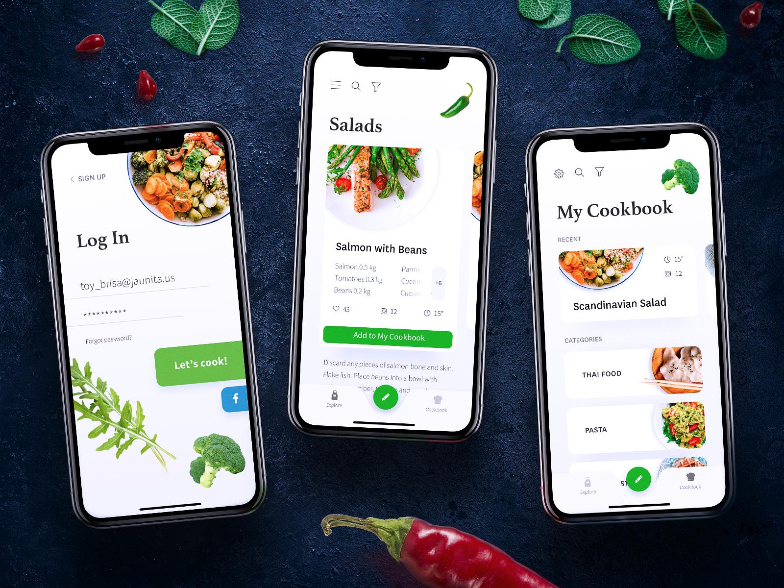 Cookbook app ui design tubik