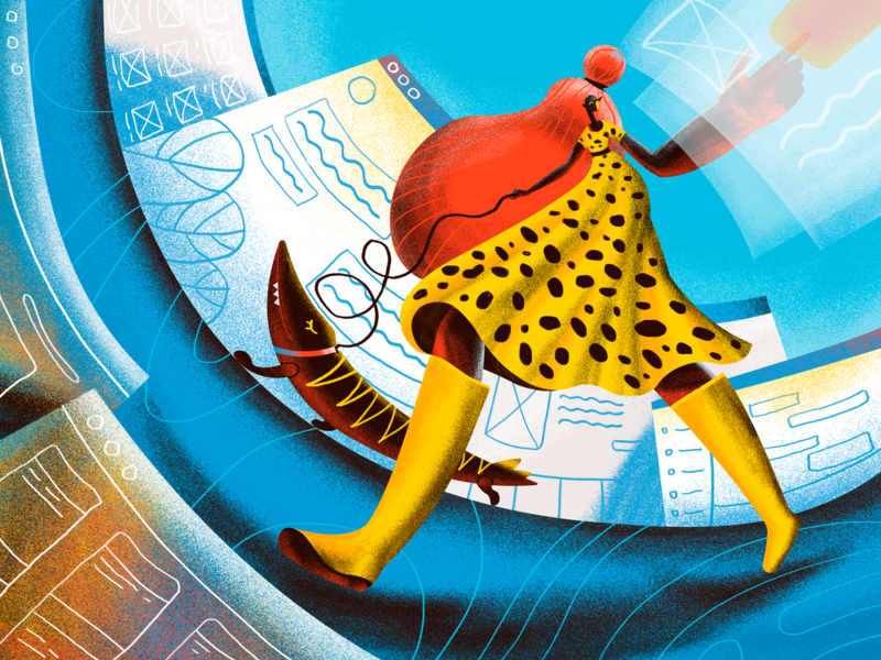 Surfing the Web Illustration bright user interface design website interaction design digital painting walk city girl user experience blog illustration web design web digital art ux ui interface illustration graphic design design