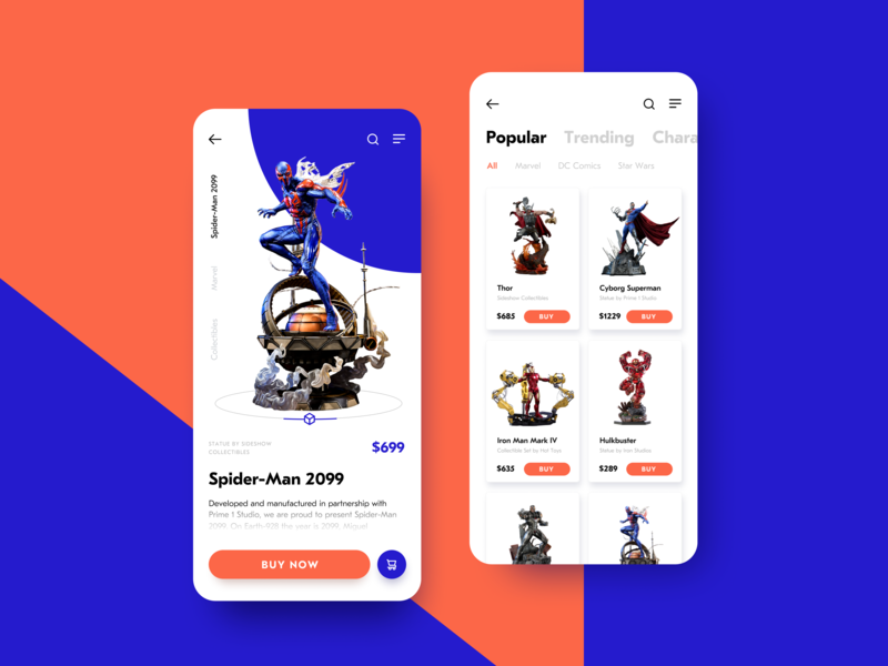 Action Figures Ecommerce App mobile screens product card catalog interaction design toys movie ecommerce app superhero action figure online shopping mobile app user experience app design ecommerce mobile app ux ui graphic design design